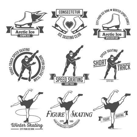 school sport: Ice Skate label  design. Ice skating boot, speed scating, figure skating. Winter sports. Retro  design. Old school sport . Monochrome badges.