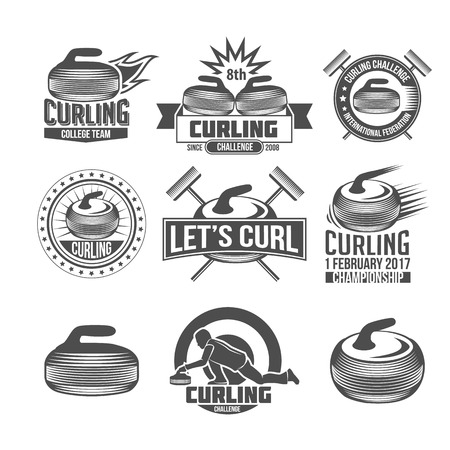 Curling game vintage badges set. Winter sports.