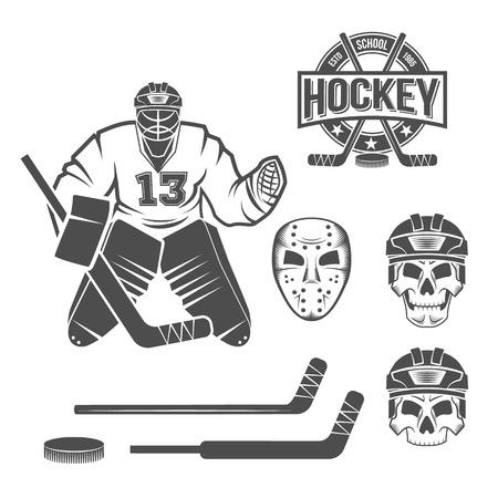 hockey hielo: curling juego insignias conjunto vendimia. Deportes de invierno. Vectores