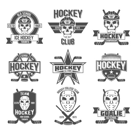 hockey equipment: Curling game vintage badges set. Winter sports.