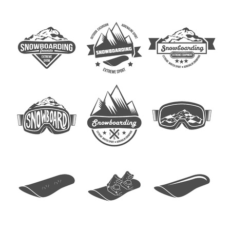 Set of Snowboarding logos and labels templates. Winter sports. Logo snowboard in the mountains. Retro logo design. Old school sport logo. Monochrome badges. Stock Vector - 55855550