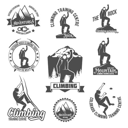 Set of mountain climbing vintage logos, emblems, silhouettes and design elements. logotype templates and badges with climber, mountains, forest, trees, ice axe. Camping badges travel logo emblems. Vettoriali
