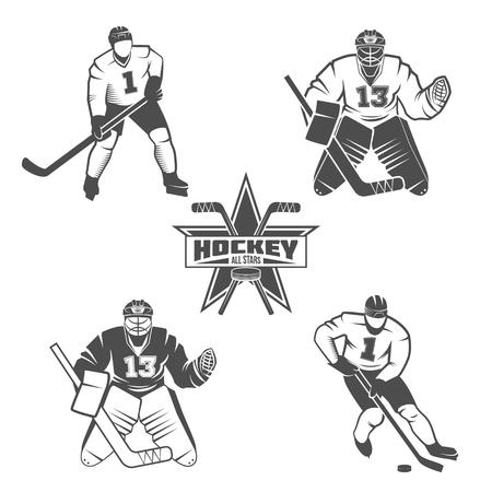 school sport: Set of Ice Hockey players. Winter sports. Retro logo design. Old school sport logo. Monochrome badges.