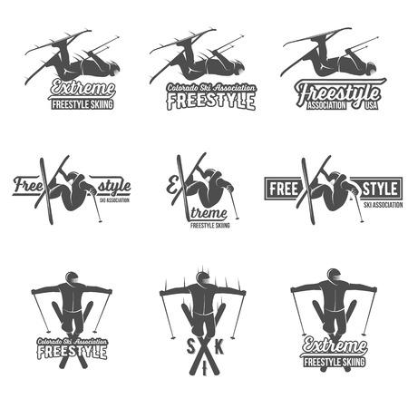 school sport: Vintage ski freestyle logos, badges, emblems and design elements. Winter extreme sports. logo skier. Retro logo design. Old school sport logo. Monochrome badges. Illustration