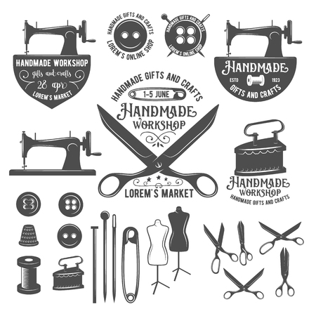 Set of tailor labels, badges, design elements and emblems. Tailor shop design elements vector. Sewing machine. Sewing needle. Sewing buttons. Sewing thread. Seving pin. Sewing tools. Tailor dummy.