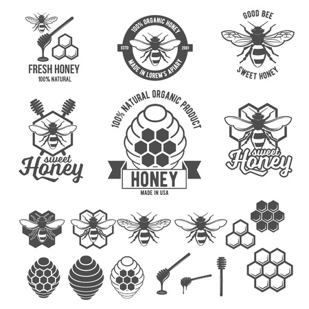 Set of vintage honey labels, badges, logotypes and design elements