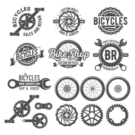 Set van vintage en modern fietsenwinkel logo badges en labels