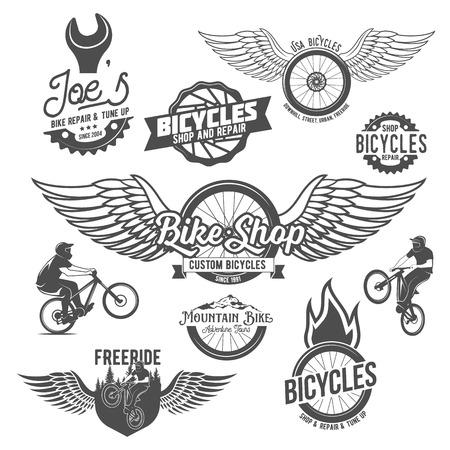 Set of vintage and modern bicycle shop logo badges and labels