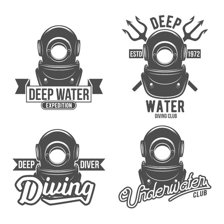 spearfishing: Scuba diving labels set. Underwater swimming logos. Sea dive, spearfishing, vector illustration. Diving emblems and designed elements