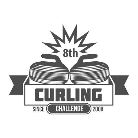 Curling game vintage badges set. Winter sports. Retro logo design. Old school sport logo. Monochrome badges.
