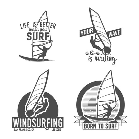 windsurf: Set of windsurfing retrolabels, badges and logotypes. Surfer vector set. Vintage surf design elements. Illustration