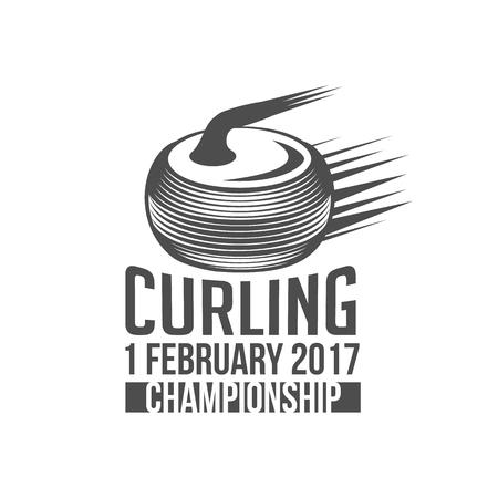 school sport: Curling game vintage badges set. Winter sports. Retro logo design. Old school sport logo. Monochrome badges.