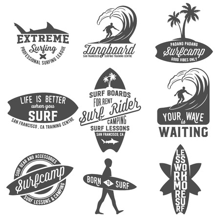 Set of vintage surfing logotypes, badges, quotes and emblems. Surfer, beach style logo design. Surf Badge. Surfboard seal, elements, symbols. Summer boarding on waves.