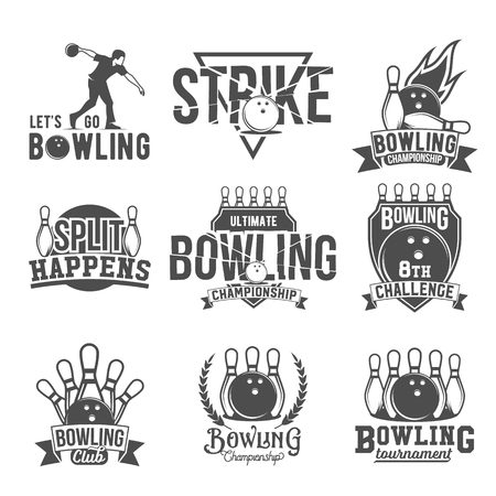 skittle: Bowling vector logotypes, emblems and badges set. Club gaming play, skittle and strike illustration. Template for bowling club, tournament, champion, challenge.