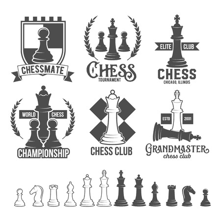 Set of vintage chess labels, logotypes badges and design elements.
