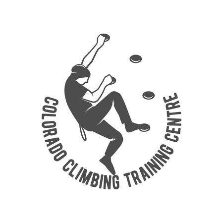 Bergsteigen Vintage-Logo, Emblem, Silhouette und Design-Elemente. Logo-Vorlage und Abzeichen mit Kletterer. Camping Abzeichen Reise Logo-Emblem. Standard-Bild - 60414015