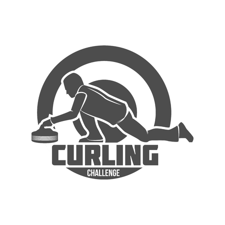 カーリング ゲーム ビンテージ バッジを設定します。冬のスポーツ。レトロなロゴデザイン。古い学校のスポーツのロゴ。モノクロのバッジ。