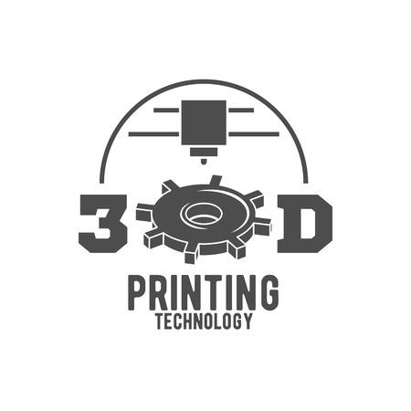 3D-Drucker-Vektor-Icons Logos und Abzeichen