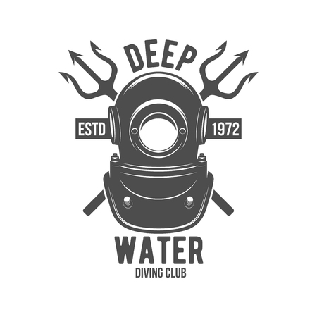 Scuba diving label. Underwater swimming logo. Sea dive, spearfishing, vector illustration. Diving emblems and designed elements Ilustração