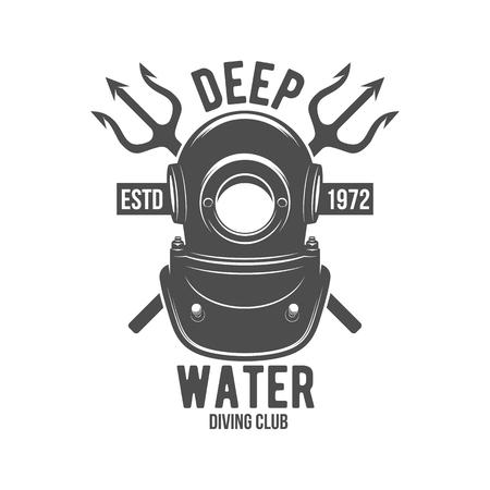 Tauchen Label. Unterwasser-Schwimmen-Logo. Meer tauchen, Unterwasserjagd, Vektor-Illustration. Tauchen Embleme und Designelemente, Standard-Bild - 60414031
