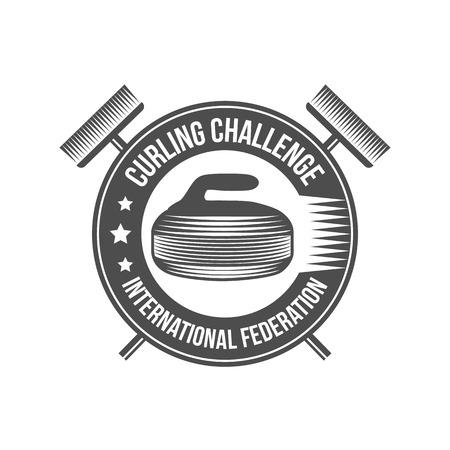 curling: Curling game vintage badges set