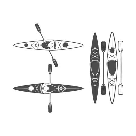 Vintage rafting, kayaking, paddling, canoeing camp icons Ilustracja