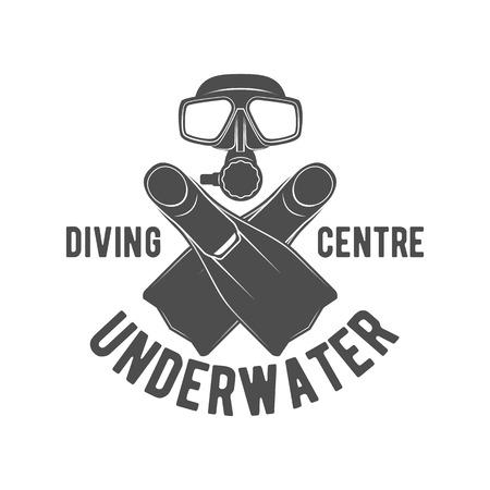 dive: Scuba diving label. Underwater swimming . Sea dive, spearfishing, illustration