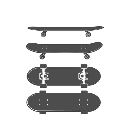 Vintage biking and skating design elements. Black skatebaoard on white background