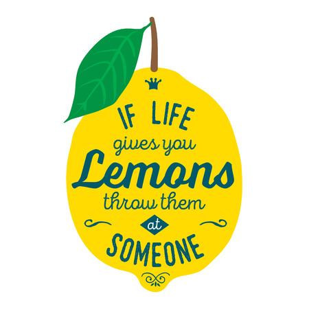 cotizacion: La motivación cita sobre limones. lustración de la camiseta, tarjeta de felicitación, póster o diseño de la bolsa. Si la vida te da limones los lanzan a alguien