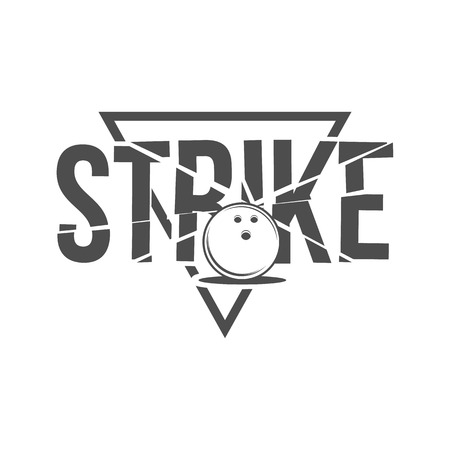 strike: Bowling , emblem and badge. Club gaming play, skittle and strike illustration. Template for bowling club, tournament, champion, challenge.