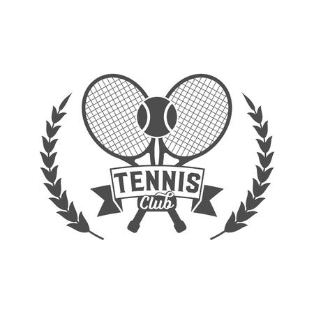Tennis badge template. Club emblem, college league , one color design elements, sport tournament, contest, tug, rush, competition