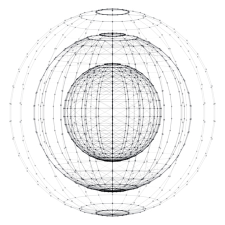 3d vector digital wireframe spherical objects. Three geometric polygonal balls created with lines and dots. Low poly shapes. Abstract vector background