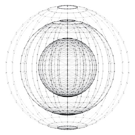 3D-Vektor-Digital-Drahtmodell kugelförmige Objekte. Drei geometrische polygonale Kugeln geschaffen mit Linien und Punkten. Low-Poly-Formen. Abstract vector Hintergrund