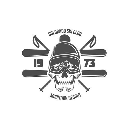 vintage skiing label badge and design elements
