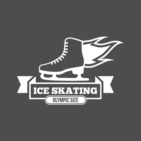 Ice Skate Label Logo Design. Eislaufen, Speed ??Scating, Eiskunstlauf. Wintersport. Retro Logo Design. Old School Sport Logo. Monochrome Abzeichen. Standard-Bild - 75258145