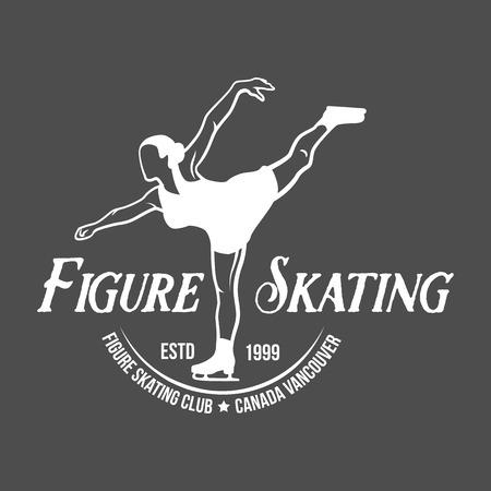 Ice Skate label logo design. Ice skating boot, speed scating, figure skating. Winter sports. Retro logo design. Old school sport logo. Monochrome badges. Illustration