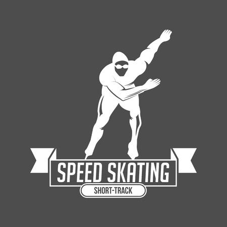 Ice Skate Label Logo Design. Eislaufen, Speed ??Scating, Eiskunstlauf. Wintersport. Retro Logo Design. Old School Sport Logo. Monochrome Abzeichen. Standard-Bild - 75258181