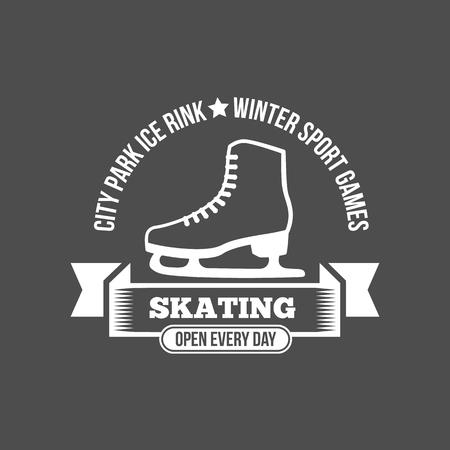 Ice Skate Label Logo Design. Eislaufen, Speed ??Scating, Eiskunstlauf. Wintersport. Retro Logo Design. Old School Sport Logo. Monochrome Abzeichen. Standard-Bild - 75258166