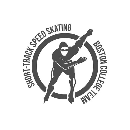 Ice Skate label logotype design. Ice skating boot, speed scating, figure skating. Vintage winter sportsd logo design. Monochrome badge. Ilustração