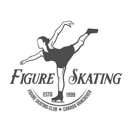 Ice Skating label logo design elements