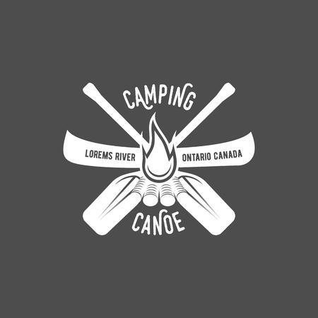 Vintage canoeing logo Çizim
