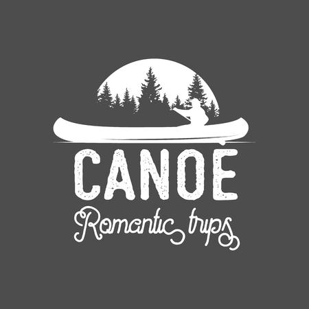 Logotipo del canoeing del vintage