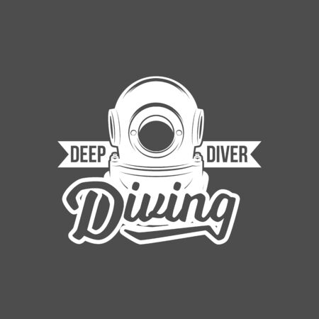 Scuba diving label emblem and designed elements. Underwater swimming  . Sea dive, spearfishing, vector illustration. Stock Photo