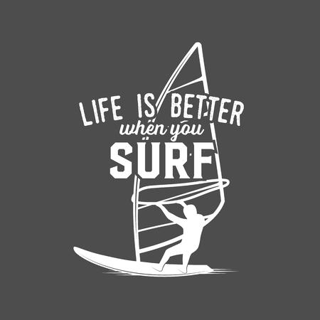 White illustration of windsurfing badge and logo in black backgroud