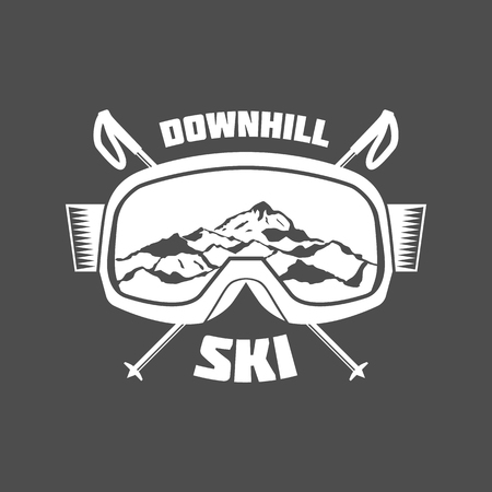 vintage skiing labels and design elements