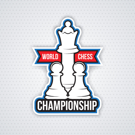 Chess cup logo or emblem template