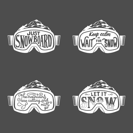 Set of snowboarding motivation quotes. Typographic Art for Poster Print Greeting Card T shirt apparel design, hand crafted vector illustration, vintage. Illustration