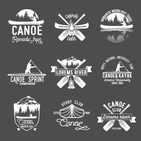 Set of vintage canoeing  logo