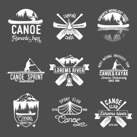 Set of vintage canoeing  logo