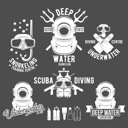 Set of diving vintage labels and logos Illustration
